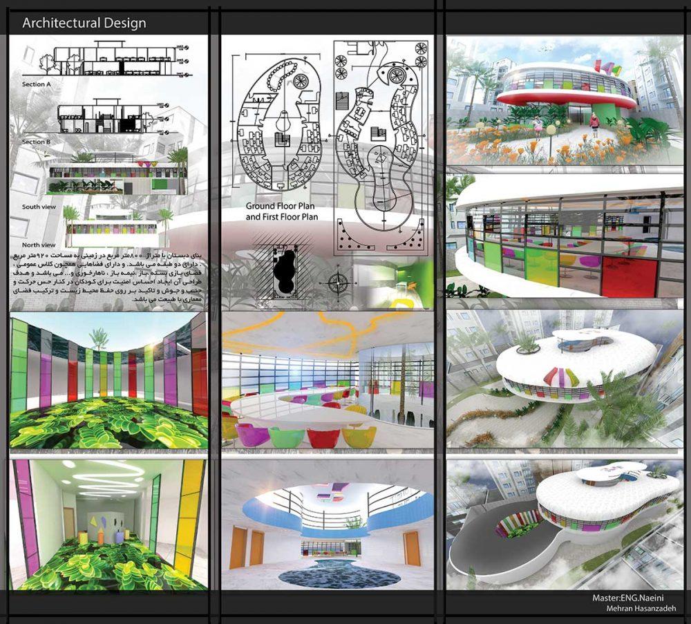 دانلود پروژه دبستان طرح آموزشی معماری داخلی