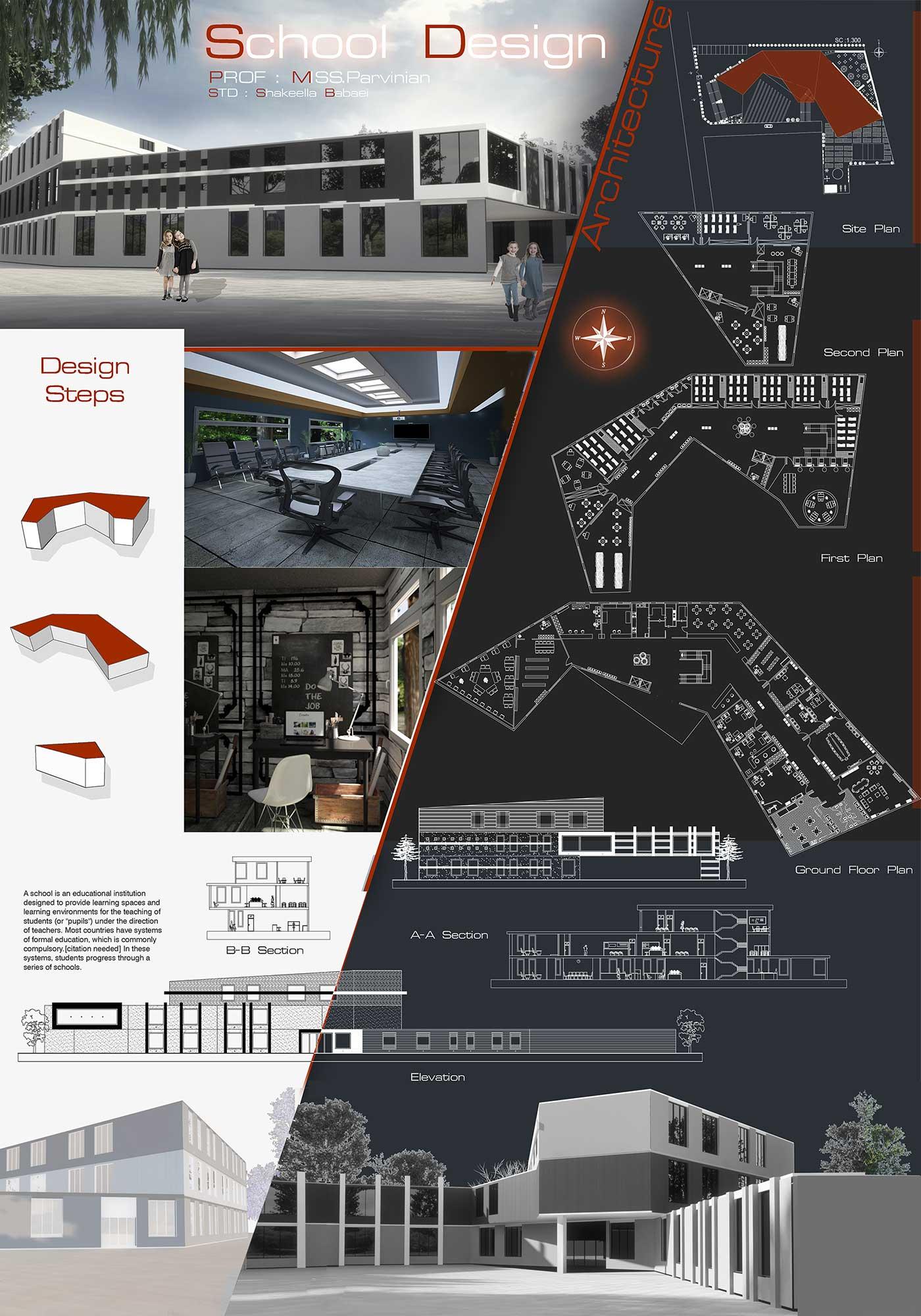 دانلود پروژه معماری مدرسه 1 1 - دانلود پروژه معماری مدرسه همراه نقشه و سه بعدی