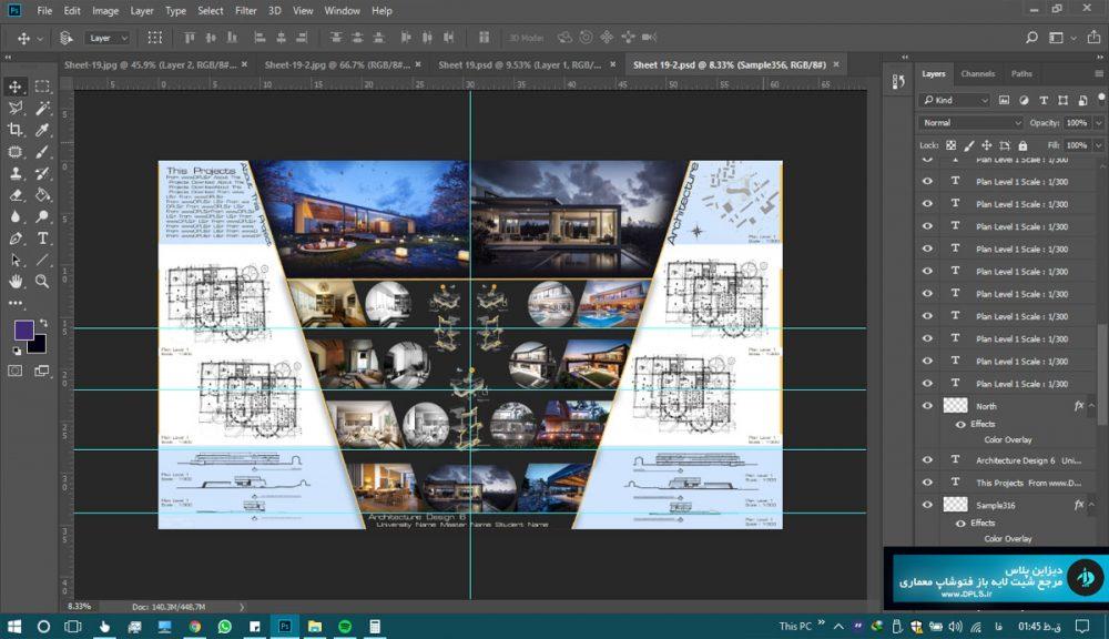 شیت بندی لایه باز معماری 3 1000x576 - دانلود شیت بندی معماری لایه باز متری حرفه ای ( دو طرح مشکی و سفید )