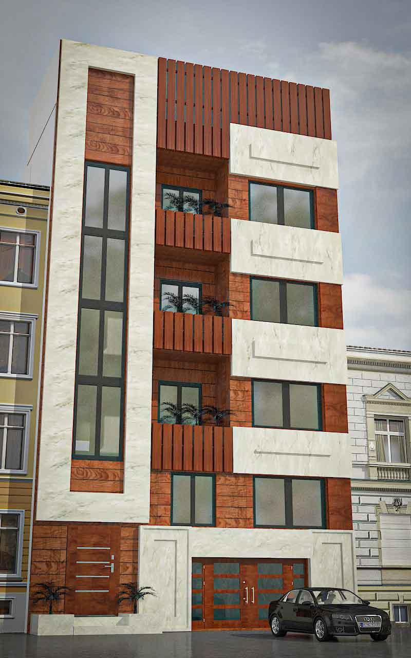 دانلود پروژه کامل آپارتمان 4 طبقه تک واحدی