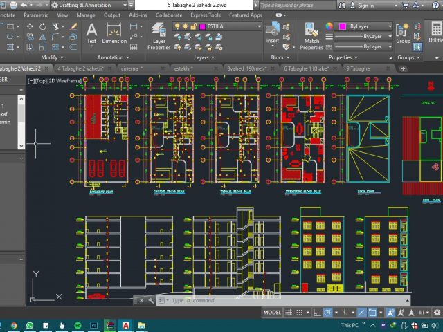 دانلود رایگان نقشه ۵ طبقه ۲ واحدی