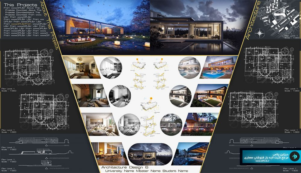 Sheet 19 1000x576 - دانلود شیت بندی معماری لایه باز متری حرفه ای ( دو طرح مشکی و سفید )