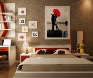red white taupe bedroom set 300x250 - ۷ راه جلوه گری تابلو ها در دکوراسیون داخلی